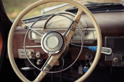 Canvas print steering retro car