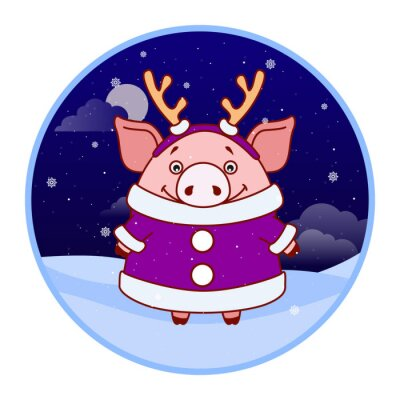 Sticker Pig in a coat and with antlers on his head on the background of the winter landscape. Evening. Symbol of the new year in the Chinese calendar. Cartoon. Vector.