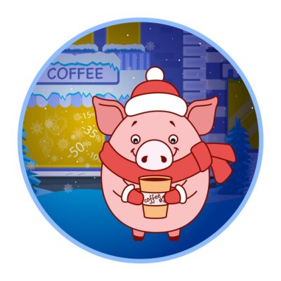 Sticker Pig in a hat, scarf and mittens with a glass of coffee on the street. Evening. Symbol of the new year in the Chinese calendar. Cartoon. Vector.