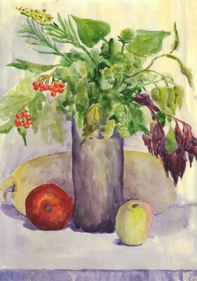 Canvas print Still life. Bouquet, Apple, zucchini, Rowan. Watercolor painting