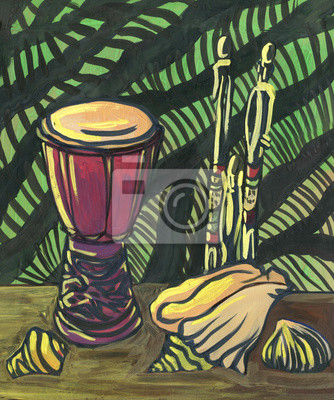 Canvas print Still life in African ethnic style. Drum, sea shell figurine and striped background. Painting, acrylic