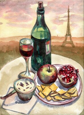 Canvas print Still life in front of the Eiffel tower in Paris. Watercolor painting
