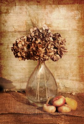 Canvas print still life of a flowers in a glass vase
