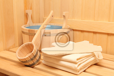 Canvas print Still life of a steam bath-room accessories