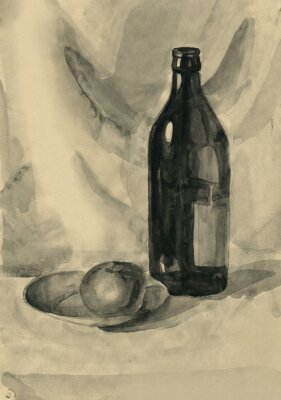 Canvas print Still life with a bottle and an apple, watercolor