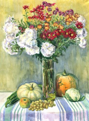 Canvas print Still life with a bouquet of flowers, fruit and vegetables. Watercolor painting