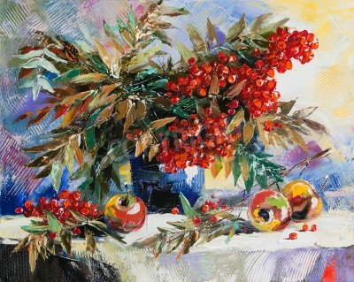 Canvas print Still-life with a mountain ash and apples