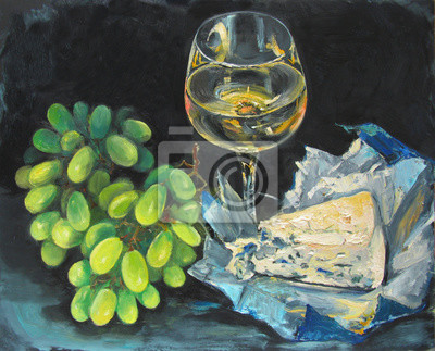Still life with delicious composition of white grape, white wine and dor blu cheese on black background, original oil painting