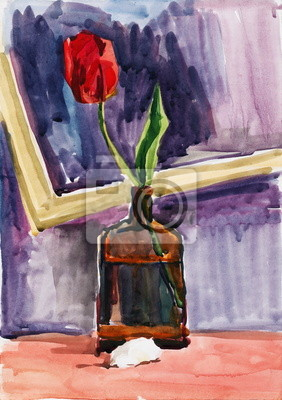 still life with flower. gouache painting