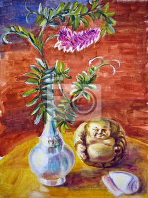 Still life with flowers, oil painting on canvas