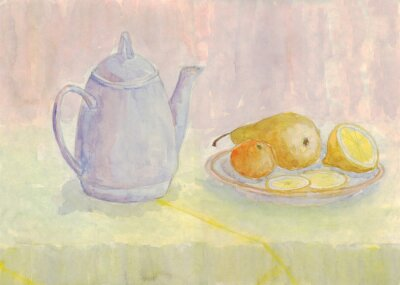 Canvas print Still life with kettle and fruit. Pear, lemon, tangerine on the plate. Watercolor painting