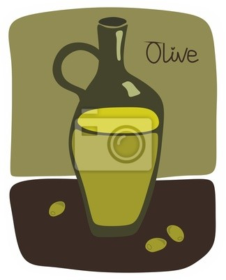 Still life with olive oil bottle