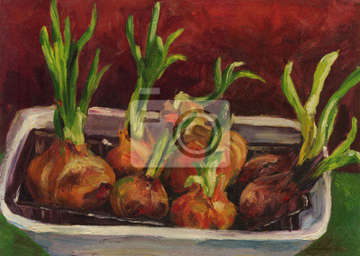 Canvas print Still life with onions. Oil painting