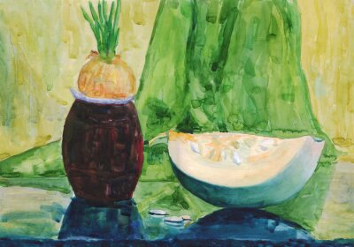 Canvas print Still life with pumpkin. Watercolor painting