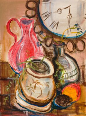 Canvas print Still life with red jug
