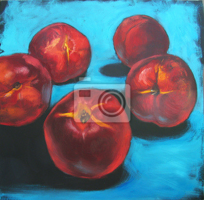 Still life with red nectarines on bright blue turquoise background with deep black shadows, original oil painting on canvas