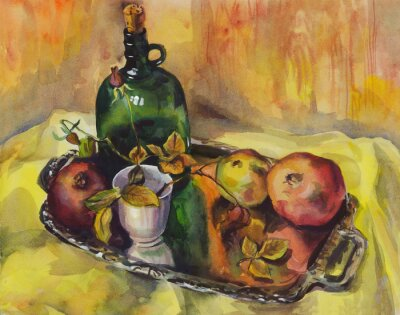 Canvas print Still life with roses, pomegranates and a bottle of wine on a tray. Watercolor painting