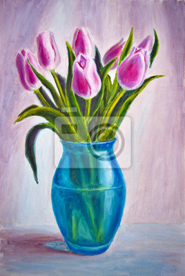Still life with tulips, oil painting on canvas