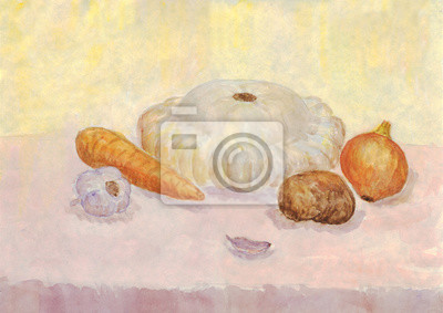 Still life with vegetables. Watercolor painting. Patison, onions, potatoes, garlic, carrots
