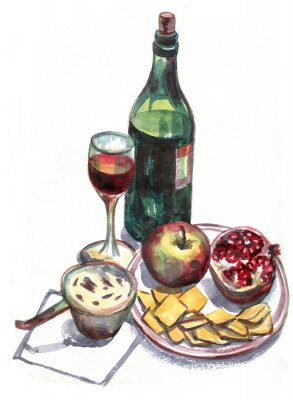 Canvas print Still life with wine and fruit. Watercolor painting