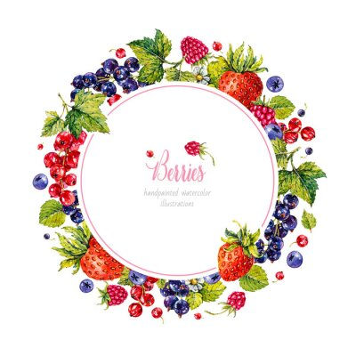 Strawberry, raspberries, blueberries, black and red currant. Berries. Watercolor botanical hand drawn illustration.