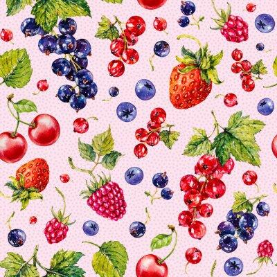 Strawberry, raspberries, blueberries, black and red currant. Berries. Watercolor botanical hand drawn illustration. Seamless pattern