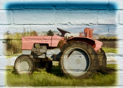 Canvas print Street art, tracteur agricole