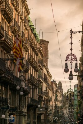 Canvas print Street in Barcelona with many streetlights