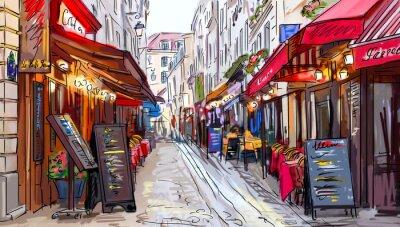 Canvas print Street in paris - illustration
