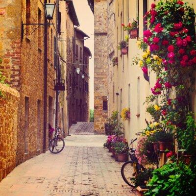 Canvas print street in Pienza
