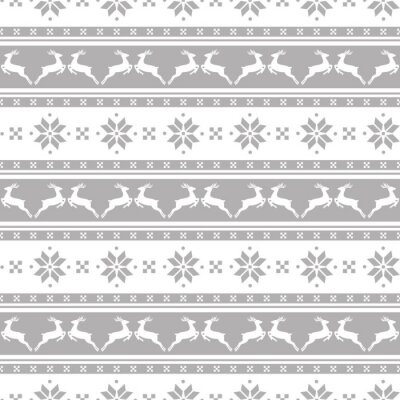 Canvas print Striped christmas pattern with deers. Vector seamless background