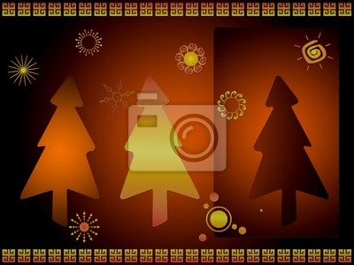 Stylized Christmas card with retro snowflakes