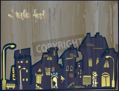 Canvas print Stylized city. Penetration of the attributes of modernity in the historical center