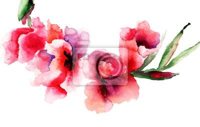 Stylized Gladiolus flowers