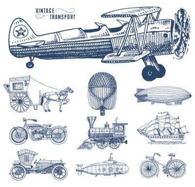 Canvas print Submarine, boat and car, motorbike, Horse-drawn carriage. airship or dirigible, air balloon, airplanes corncob, locomotive. engraved hand drawn in old sketch style, vintage passengers transport.