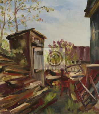 Suburban landscape. Oil painting