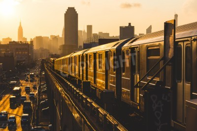 Canvas print Subway Train in New York at Sunset