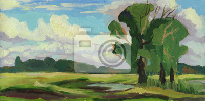 Summer landscape. Oil painting