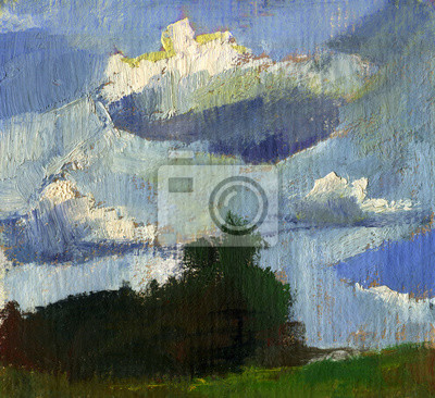 Summer landscape oil painting with clouds