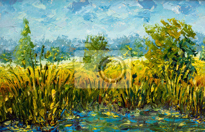 Summer landscape oil painting with large strokes