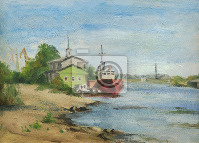 Canvas print Summer landscape. The ships in the river port. Oil painting