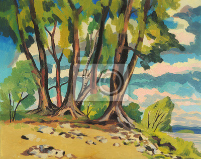Canvas print Summer landscape. Trees on the river Bank. Oil painting