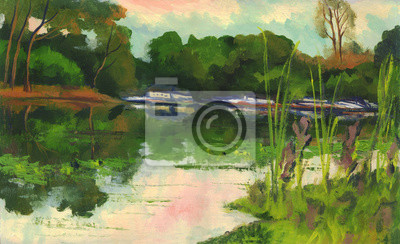 Canvas print Summer landscape. Trees with reflection in the river. Oil painting