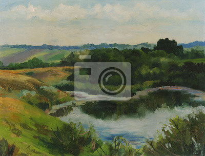 Canvas print Summer landscape with lake. Oil painting