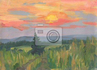 Canvas print Summer landscape with tree at sunset. Oil painting