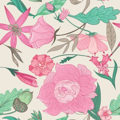 Canvas print Summer Pattern in Pale Colors