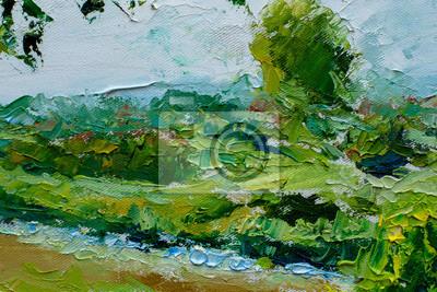Summer rural landscape, oil painting on canvas modern impressionism