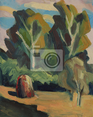 Summer rural landscape with trees and haystacks in a meadow. Oil painting