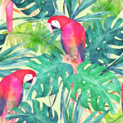 Canvas print Summer seamless pattern with watercolor parrot, palm leaves. Colorful illustration