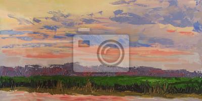 Canvas print Summer sunset. Evening landscape. Oil painting